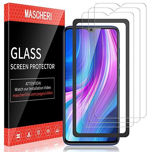 MASCHERI Schutzfolie für Xiaomi Redmi Note 8 Pro Panzerglas, [3 Pack] [Ausgestattet mit einem Einbaurahmen] Bildschirmschutzfolie Panzerfolie Bildschirmschutz Panzerglasfolie Glas Folie