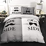 His Side and Her Side Duvet Cover Set Couple Gray and White Bedding Set with 2 Pillowcases Comforter Cover Set Soft Microfiber Quilt Cover 3 Pieces for All Season King Size 90'x103' (Not Comforter)