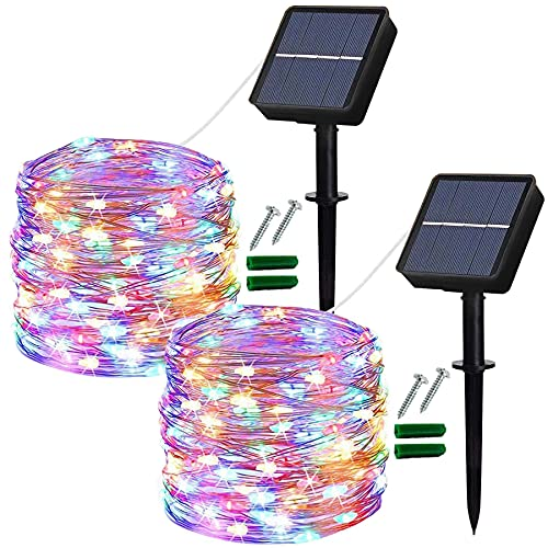 Solar Fairy Lights Outdoor, 2 Pack 14M/46Ft Garden Lights Solar Powered Waterproof, 120 LED 8 Modes Copper Wire Decorative Solar String Lights for Trees, Garden, Patio, Yard, Party (Multi-Coloured)