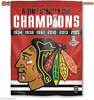 Chicago Blackhawks 6 Time Champions Banner and Banner