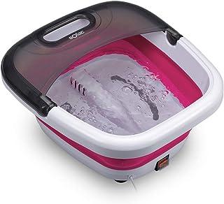Solac ME7756 - Hidromasajeador de pies, plegable, 6 litros, masaje con burbujas, vibraciones e infrarrojos, calentamiento del agua, uso con aceites, 350W, color blanco y fucsia