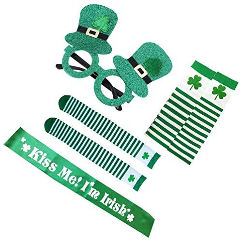 KESYOO 1 Juego 4 Piezas Divertido Juego de Accesorios de Disfraz de Día de San Patricio Tela Brillante Verde Sombrero Gafas de Sol Calentadores de Brazo Calcetines Sash Irish Día de San