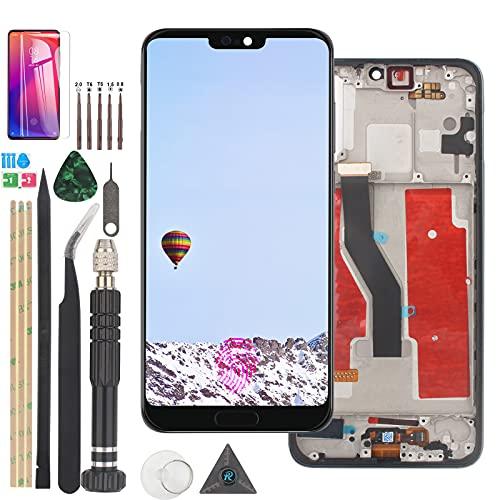 RongZy para Huawei P20 Pro CLT-AL01 CLT-L29 CLT-L09 LCD Display + Herramientas (con Cable de Llave de Huellas Dactilares e Encienda el Cable del Botón de Volumen Plata con Marco)