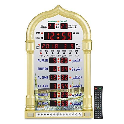 AL-HARAMEEN Azan Clock,Led Prayer Clock,Wall Clock,Read Home/Office/Mosque Digital Azan Clock/Decorative Clock HA-4008 (Gold)