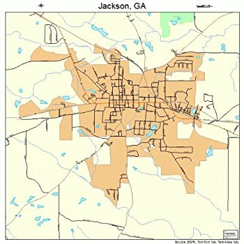 Large Street & Road Map of Jackson Georgia GA - Printed poster size wall atlas of your home town