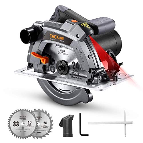 Circular Saw, TACKLIFE Improved 1500W Electric Circular Saw with Laser, 5000RPM, Base Plate Made of Aluminum Alloy, 2 Circular Saw Blades (190 mm / 24T, 185mm / 40T) - PES03A
