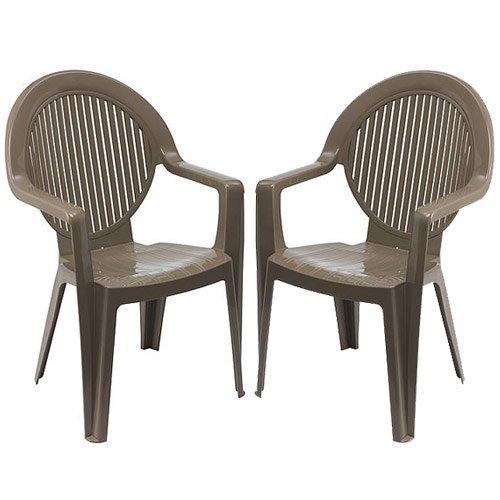 GROSFILLEX Lot de 2 fauteuils monoblocs Coloris Taupe