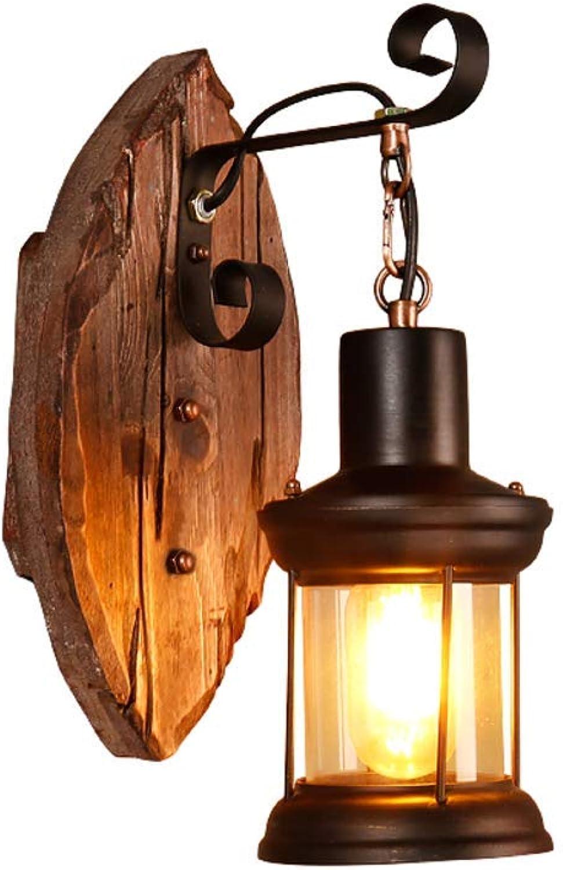 JZMB  American Solid Wood Restaurant Wandbeleuchtung Lampe, Vintage dekorative Leuchte für Schlafzimmer Bett Gang Glas Abdeckung Wandleuchte-warmes Licht W15  H35cm