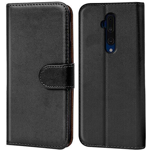 Verco OnePlus 7T Pro Hülle, Handyhülle für OnePlus 7 T Pro Tasche PU Leder Flip Hülle Brieftasche, Schwarz