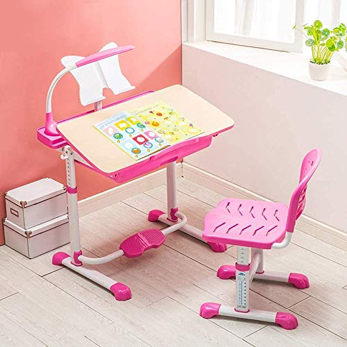 Nest Of Tables White Coffee Table Side Tables Laptop Table Kids Desk Set Height Adjustable Childrens Workstation, Kid's Study Desk and Activity with Adjustable Chair Sturdy Durable (color, Blue),Pink