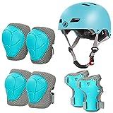 LANOVAGEAR Casco Infantil Set de Protección Casco Protección Patinaje 2-8 años Ajustable Rodilleras Coderas y Muñequeras para Patinaje Ciclismo Monopatín Skateboard (Azul Hielo, S)