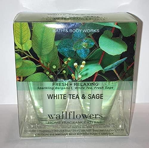 Wallflowers Bath Body Works Fragrance Refill Bulb 2 Pack White Tea & Sage