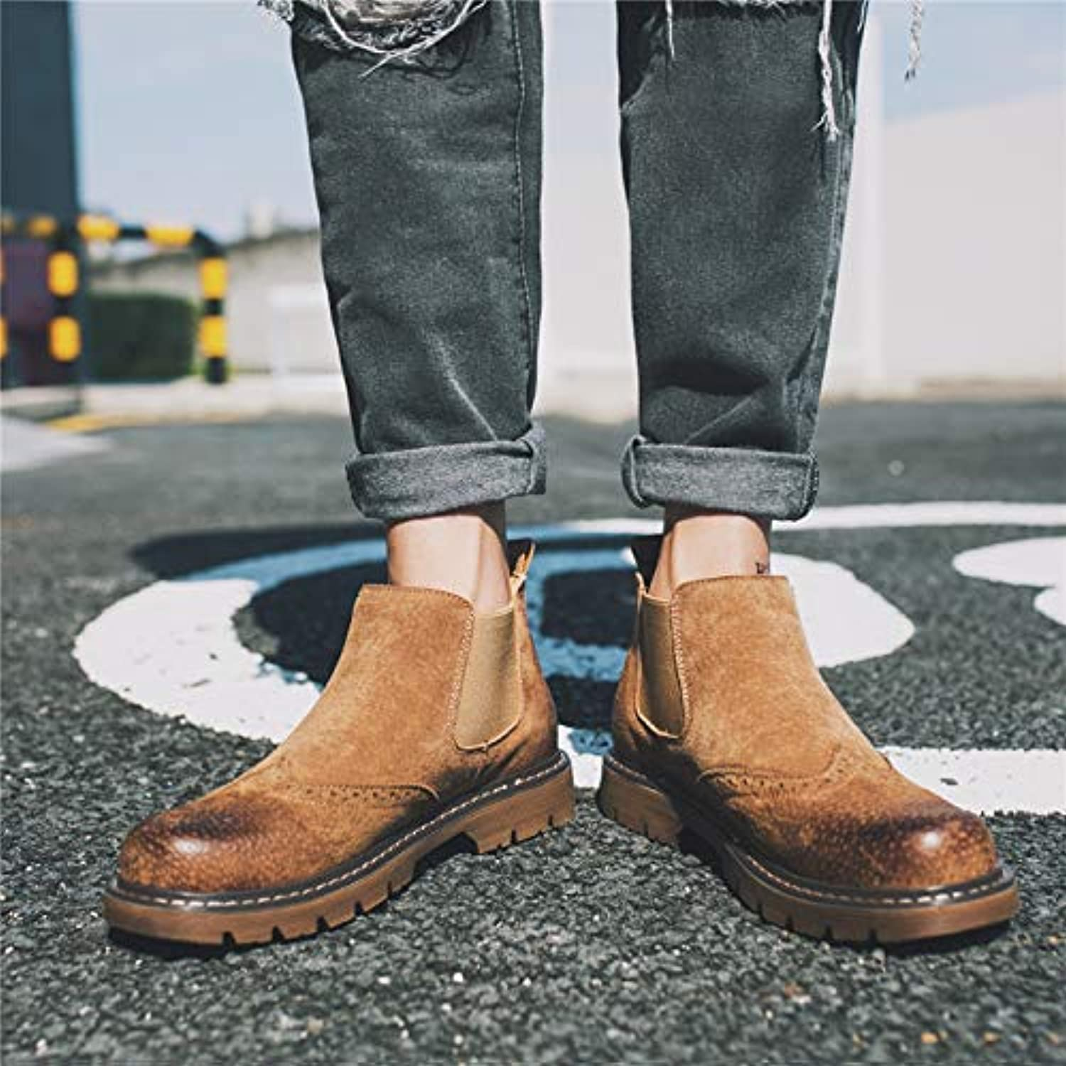 Shukun Men's boots Pu Retro High shoes Men'S shoes Lazy Casual shoes Martin Boots