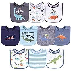 2. Hudson Baby Unisex Baby Cotton Dinosaur Bibs (5-pack)