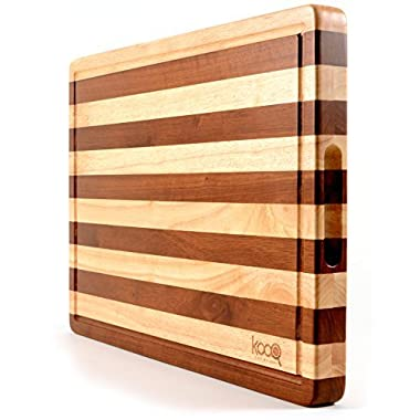 "PREMIUM - The Most Beautiful Two-Tones Chopping Block and Serving Board! Unique Cutting Board (Extra Large - 19.5"" by 14"" and 1.5"" thick) - Luxury Butcher's Block"