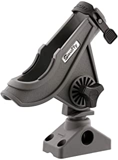 Scotty #280-GR Baitcaster/ Spinning Rod Holder w/ #241 Side/Deck Mount (Grey)