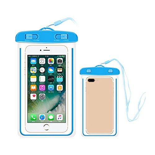 Tyrrrdtrd - Custodia Impermeabile Resistente e Luminosa, per Spiaggia, Immersioni, Nuoto, Telefono Cellulare, Blu.