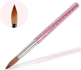 BQAN 1Pcs Nail Art Brush Metal Handle with Diamond Kolinsky Hair 14# (Pink)