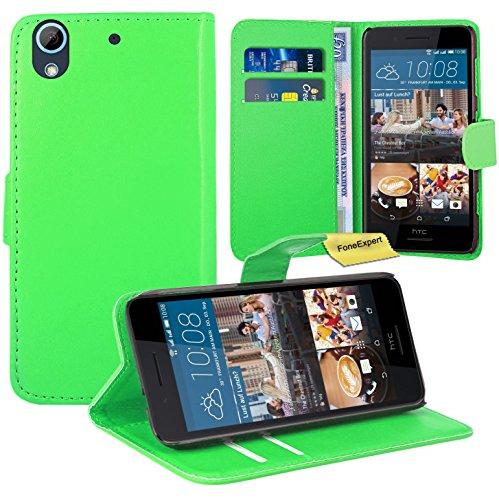 HTC Desire 728G Handy Tasche, FoneExpert® Wallet Hülle Flip Cover Hüllen Etui Ledertasche Lederhülle Premium Schutzhülle für HTC Desire 728G (Grün)