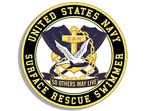 American Vinyl Round SAR US Navy Surface Rescue Swimmer Sticker (Logo so Others May Live)