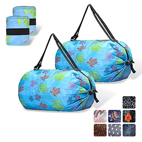 Roucerlin Paquet de 2 Réutilisables Sacs de Courses, Sac à Provisions Pliable Pour Femmes Hommes, Sacs dÉpicerie Étanches, Grande Capacité Tote Bag pour Pique-Nique en Plein Air (Light Blue)