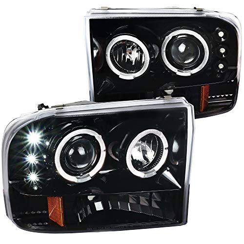 Spec-D Tuning Led Halo Jet Black Projector Headlights for 1999-2004 Ford F250...