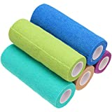 POPETPOP 5Pcs Self-Adhesive Cohesive Bandages, Elastic Non-Woven Vet Wrap Tape Bulk First Aid Tape for Pets Dogs Cats Horses, Mixed Color