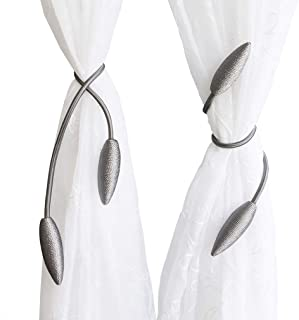 Valea Home 2 Pieces Curtain Tiebacks Clips Creative Window Drape Twist Tie Backs European Style Custom Made Curtain Holders Decorative Draperies Holdbacks, Silver Grey