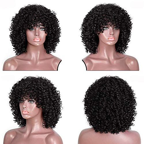 LBE Afro Kinky Curly Synthetic Short Wig With Bangs Black HeatResistant Full Wigs for Women (14 inches, 1B)