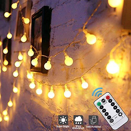 Catena Luminosa, Stringa Luci Led Per Esterni, Globo Bianco Caldo Luci Della Stringa USB, Impermeabili Bulbo Lampade Con USB 8 Modalità Decorazioni Casa, Festa, Matrimonio, Giardino, Natale