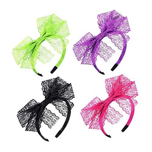 iwobi 4 stuks jaren 80 kant bow hoofdband haarband party kostuum accessoires voor dames meisjes, 4 kleuren