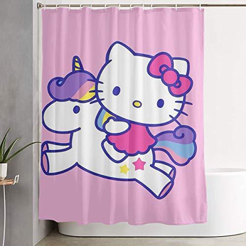 LIUYAN Duschvorhang mit Haken – Hello Kitty mit Einhorn, wasserdichtes Polyestergewebe, 152,4 x 182,9 cm
