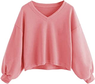 Chanyuhui Fashion Women V-Neck Crop Tops Solid Casual Lantern Sleeve Sweatshirt Pullover Tops Jumper Outwear
