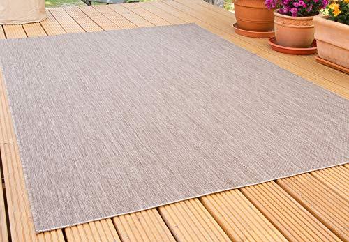 In- und Outdoor Teppich Gotland | für Balkon, Terrasse und Küche | Strapazierfähig und wasserfest | in Braun, Größe: 160x230 cm