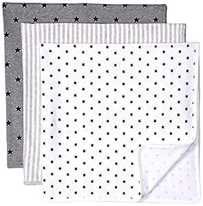 Amazon Essentials - Pack de 3 mantas para bebé, talla única, Neutral Uni Star Stripe, Talla única