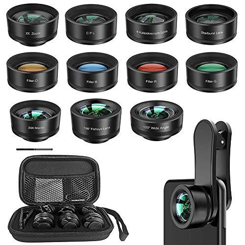 Kit de lentes de cámara para teléfono celular con clip 11 en 1, lente universal para smartphone con lente gran angular + lente ojo de pez + lente macro + lente teleobjetivo + CPL + lente Starburst + f