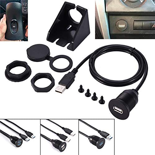 Gimax 2 Ports Dual USB 2.0 3.0 AUX Flush Mount Car Mount Extension Cable For Car Truck Boat Motorcycle Dashboard Panel 1M 2M Color Name: D