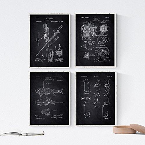 Nacnic Negro - Pack de 4 Láminas con Patentes de Pesca. Set de Posters con inventos y Patentes Antiguas. Elije el Color Que Más te guste.