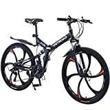 Outroad Folding Mountain Bike 6 Spoke 21 Speed 26 inch Wheel Double Disc Brake Full Suspension Anti-Slip, Black