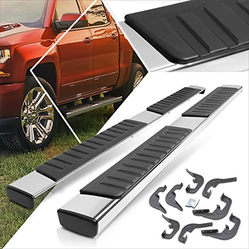 Chrome 6 Inches Running Board Side Step Nerf Bar Compatible with Chevy Silverado/GMC Sierra Crew Cab 07-19