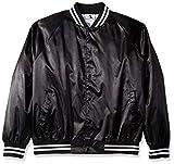 Augusta Sportswear Satin Baseball Jacket/Striped Trim S Black/White