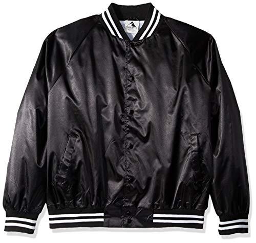 Augusta Sportswear Men's X-Large Augusta Satin Baseball Jacket/Striped Trim, Black/White