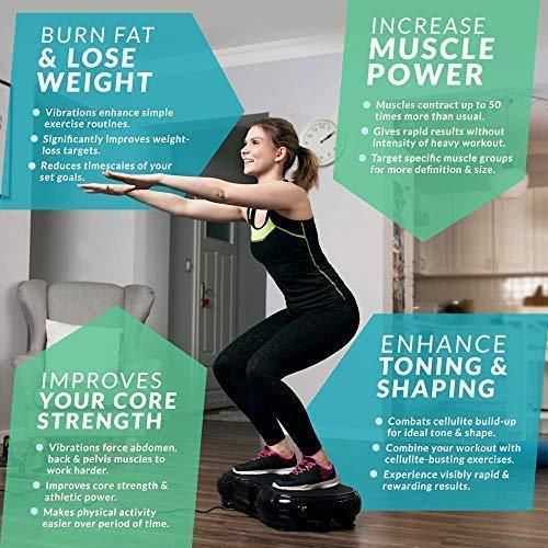Bluefin Fitness Plateforme Vibrante Ultra Slim | Perte de Poids & Brûleur de Graisses à la Maison | 5 Programmes + 180 Niveaux | Haut-parleurs Bluetooth