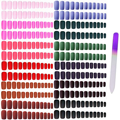 editTime 12sets/288pcs Solid Colors Matte Acrylic Square False Nails Full Cover Press on Fake Nails Tips Natural Medium False Fingernail Tips with a Crystal Nail File (Matte Square)