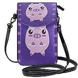 Lawenp Purple Pig Piggy Small Leather Crossbody Bag RFID Bloqueo Monedero Monedero Bolsas de teléfono para viajes Chicas Mujeres