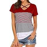 Kavitoz Damen Casual T-Shirt, Frauen Sweatshirt Patchwork Shirts Streifen Hemd Kurzarm Bluseneatshirt Patchwork Shirts (L, Rot) -