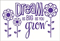 Wall Decor Plus More WDPM2664 Dream As Big As You Grow ウォールステッカー 36インチ×23インチ パープル