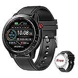 Voigoo Montre Connectée Femmes Homme, Smartwatch Vibrante pour Appel Message Montre Intelligente Etanche 3ATM Trackers d'Activité Podometre Calories Sommeil Chronometre pour iPhone Huawei Samsung