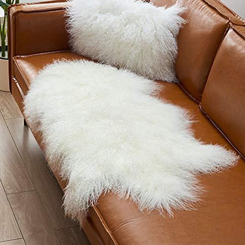 Genuine Tibetan Fur Rug/Ivory White 100% Real Mongolian Sheepskin Hide Pelt Throw Rug Plate Lamb Wool Carpet Curly, 39.5'-41.5' Long