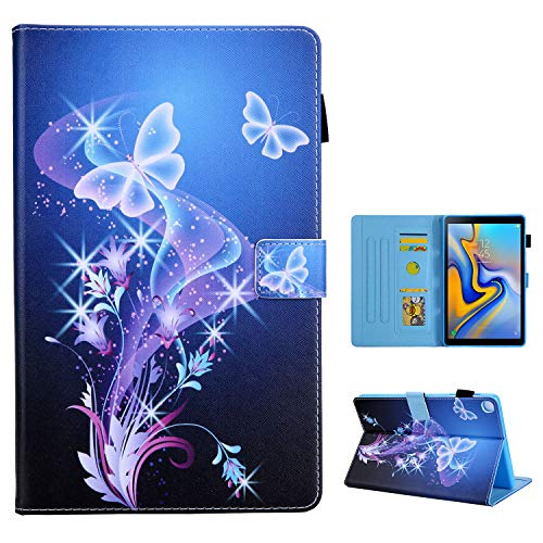 Uliking Galaxy Tab A 10.1 Inch Tablet Case 2019 (SM-T510/T515), Shockproof PU Leather Folding Stand Folio Magnetic Cover with Pocket Card /Pencil Holder for Samsung Tab A 10.1 2019, Purple Butterfly